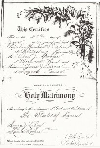 Albert & Anna Kobler Marriage Certificate