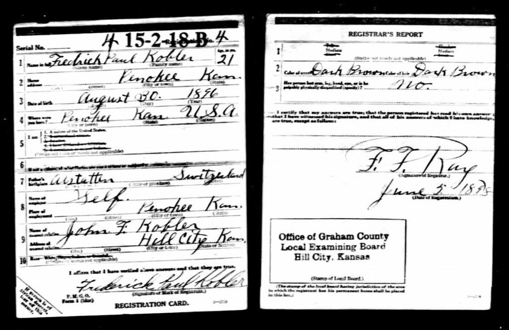 Fred Kobler WWI Draft Registration